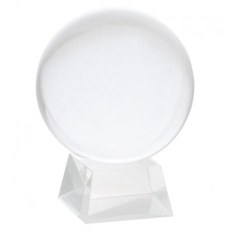 Sphère de Cristal sur base en verre 20cm